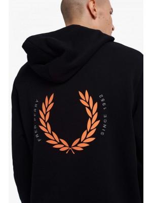 Sweatshirt Fred Perry à capuche Laurel Wreath M2645 102 Noir