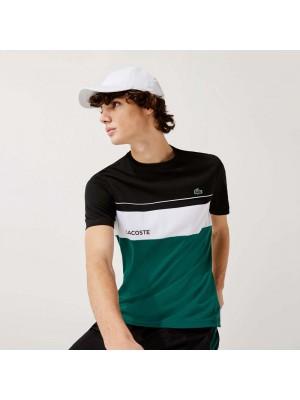 T-shirt Lacoste TH9561 PSC Black Bottle Green White