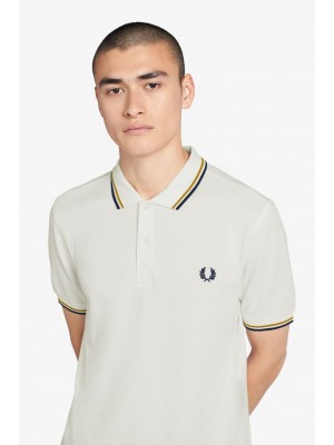 Polo Fred Perry Twin Blanc Or Noir M3600 J81