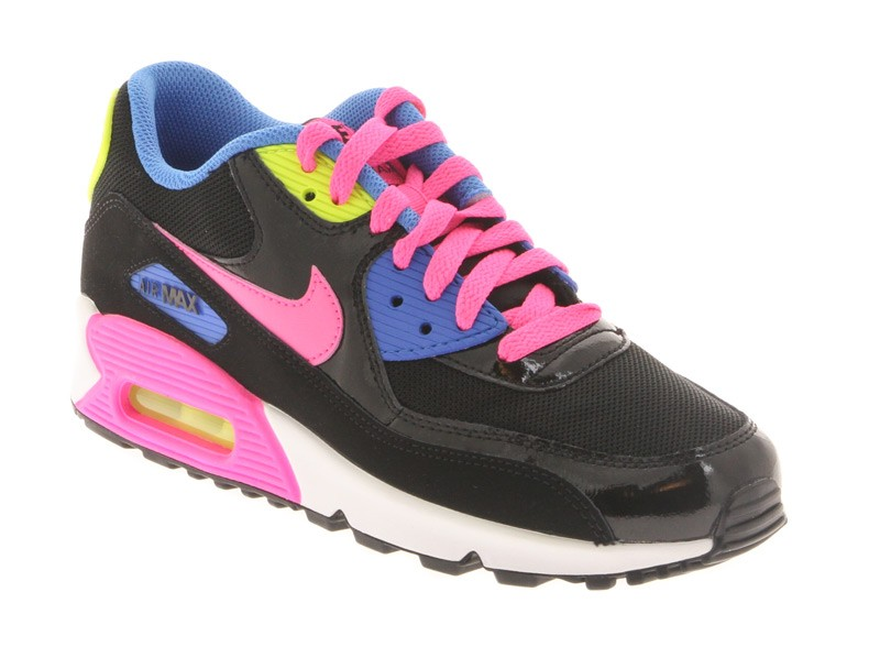 more photos 15981 12974 ... czech basket nike air max 90 junior en cuir et mesh noir et rose. d2791