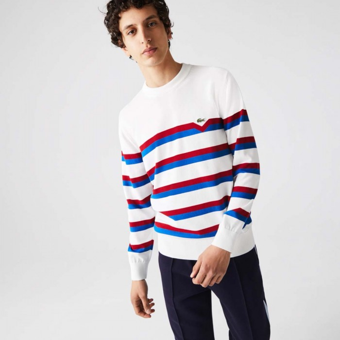 Pull Lacoste AH6788 X32 Made In France Blanc Bleu Rouge