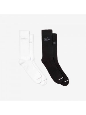 Chaussettes Lacoste RA8278 NBH White Black Silver Chine